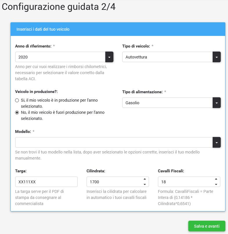 esempio configurazione guidata costo rimborso chilometrico